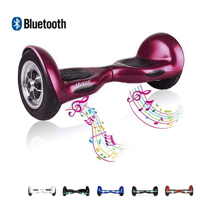 Skque 10 Smart Two Wheel Self Balancing Electric Scooter with Bluetooth Speaker and LED Lights